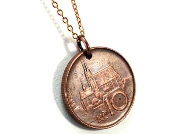 Czech coin necklace - Prague Castle and Czech Lion, unisex, reversible