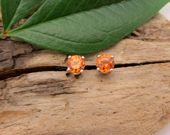 Orange Garnet Hessonite Earrings in Gold, Silver, Platinum, or Palladium with Genuine Gems, 4mm - Free Gift Wrapping
