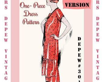 Vintage Sewing Pattern Instructions 1920's Shirred Front Dress booklet Depew 3019 -PAPER VERSION