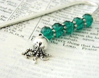 Octopus Bookmark with Green Glass Beads Shepherd Hook Steel Bookmark Silver Color