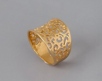 Gold Filigree Ring, Gold Ring, Vintage Style Ring, Statement Ring, Gold Lace Ring, Bridal Jewelry, Wide Ring, Victorian Ring, Geometric Ring
