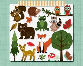Woodland Clipart Forest Animals Clip Art Digital Scrapbooking Elements - Personal and Commercial Use INSTANT DOWNLOAD