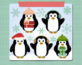 Christmas Penguins Clip Art  Winter Clipart - Clipart Digital Scrapbooking Elements - Personal and Commercial Use INSTANT DOWNLOAD