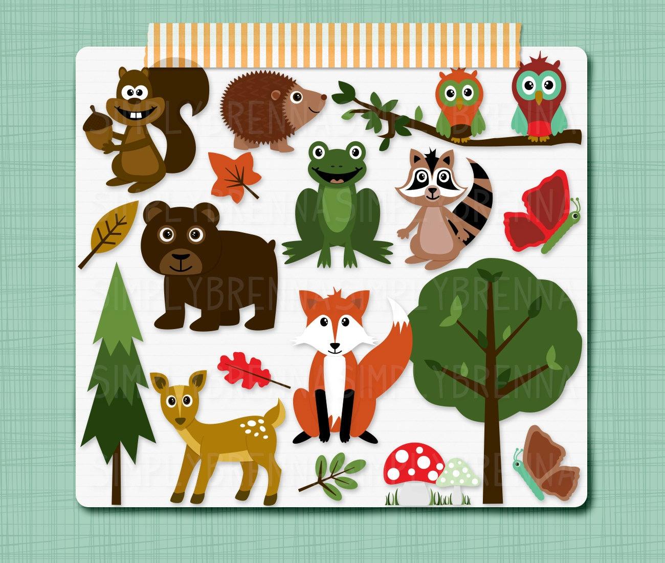 Woodland Clipart Forest Animals Clip Art Digital Scrapbooking