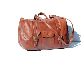 DOUBLE side Brown Leather WEEKEND TRAVEL  Bag