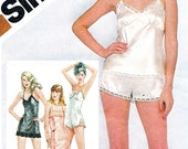 Womens Lingerie Pattern Simplicity 9859 Camisole Tap Pants Full Slip Boy Shorts Teddy Womens Underwear 1980s Vintage Sewing Pattern Bust 36