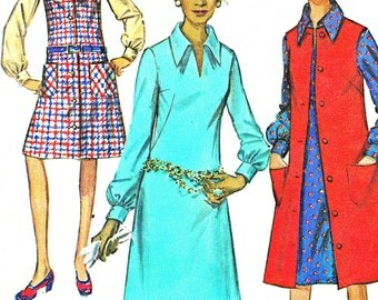 Mod Collared A Line Dress Pinafore Dress Jumper Sleeveless Dress 1970s Vintage Sewing Pattern Simplicity 9028 Bust 36