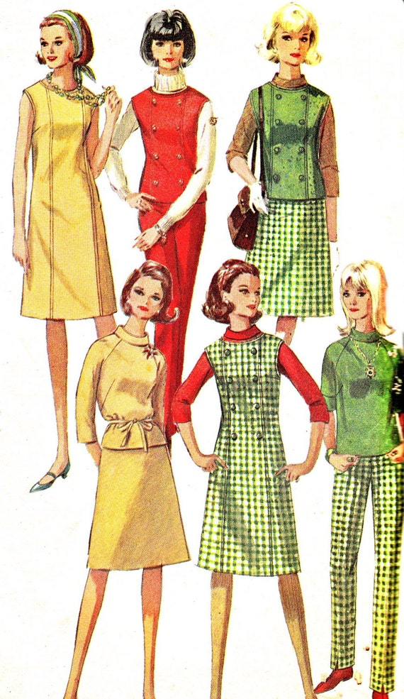1960s Vintage Sewing Pattern Dress Double Breasted Sleeveless