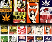 "CRAZED YOUTH - Digital Printable Collage Sheet - 1"" x 2"" Domino Tiles - Reefer Madness, Marijuana Drug Propaganda Posters, Instant Download"