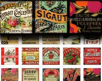 "LITTLE LABELS - Digital Printable Collage Sheet - Variety Mix of Vintage Labels, French Perfume Apothecary Wine, 1"" Square or Scrabble Tile"