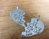 Best fcking Friends BFF  Set of Two Charms. Est. and year of friendship on hearts DIY add charms  mature content