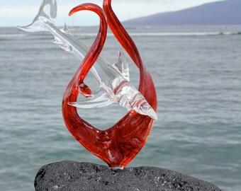 Reef Shark in red seaweed glass sculpture