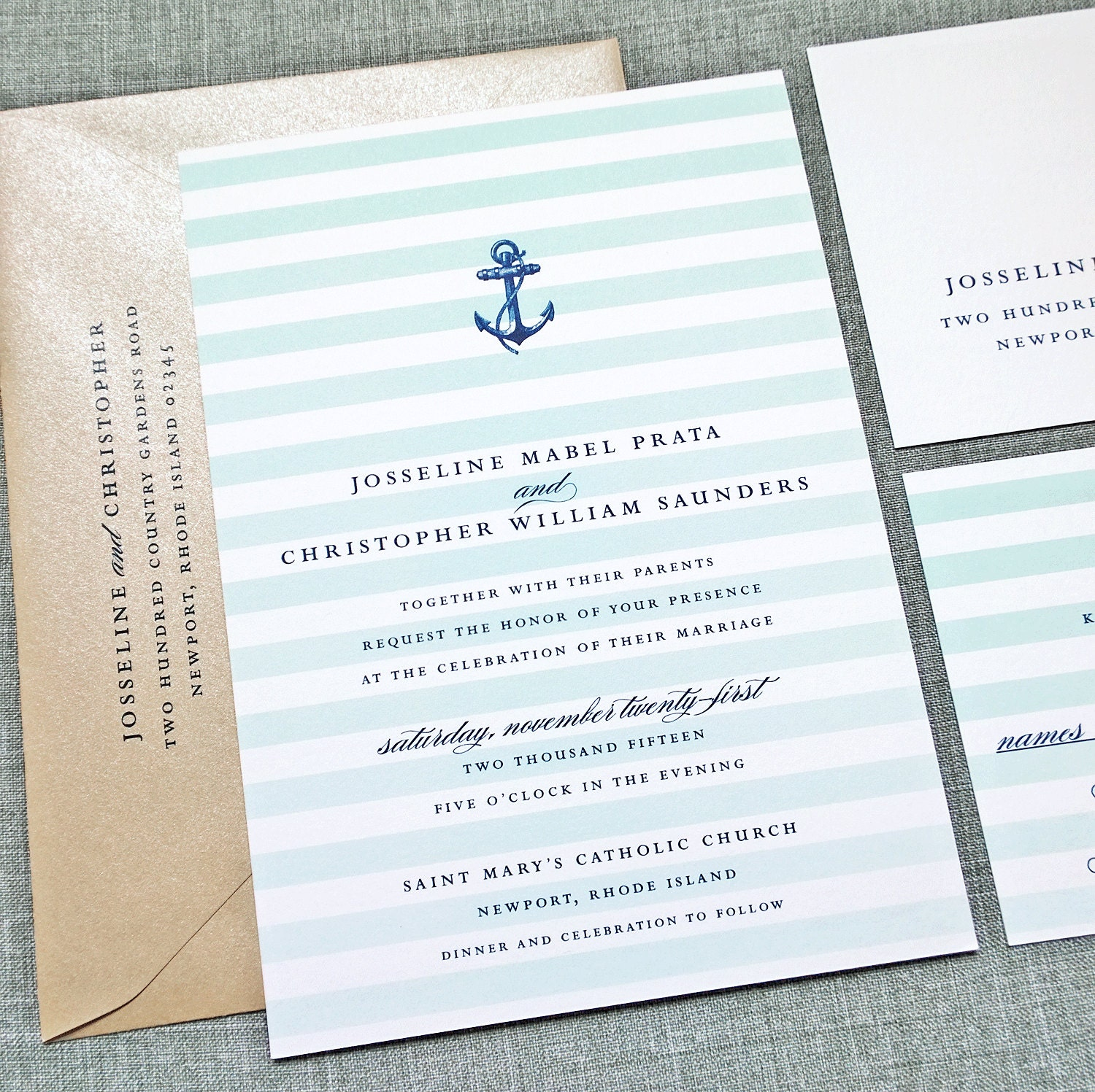 josseline nautical wedding invitation sample by