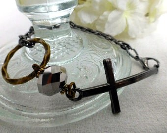 Urban Faith Cross Bracelet - Minimalist Chain Bracelet - Steampunk Statement Bracelet