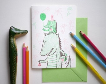 Tropical crocodile party - hand printed I Love you, birthday, thank you Card