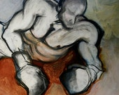 NEW Male Nude, Boxer, Erotic Art, Homoerotic Art, Mature - On the Mat