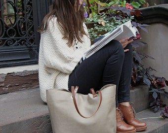 Tote Bag, Neutral Bag, Taupe Bag, Linen Bag, Casual Tote, Everyday Tote, Purse for Women, Simple Tote Bag, Market Tote