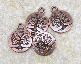 Copper Tree of Life Charm Antique Copper Charm TierraCast Tree Drop Bodhi Tree Yoga Charms for Meditation Jewelry (P785)