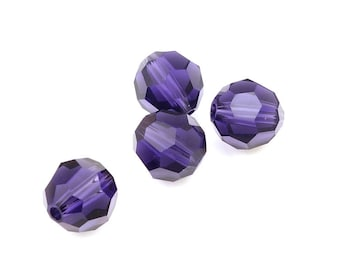Violet Purple Beads 8mm PURPLE VELVET Swarovski Beads - Swarovski Faceted Round Beads - Article 5000 8mm Dark Purple Beads