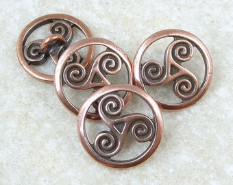 Celtic Triskele Buttons - Antique Copper Button Findings - 16mm TierraCast Leather Wrap Celtic Jewelry Findings (PF2137)