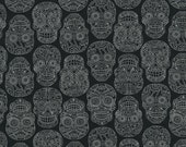 Skulls Black and White Dan Morris Fiesta RJR Fabric 1 yard