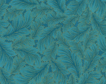 Dynasty Feathers Leaves Teal Timeless Treasures Fabric 1 yard