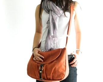 Orange Pumpkin canvas Messenger bag, Women Cross body bag , Diaper bag, Purse, Handbag , back to School -SALE 30% - no.103 CLAIRE