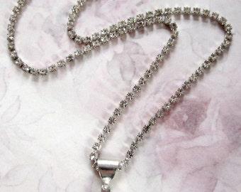 vintage prong set rhinestone choker necklace - j4024