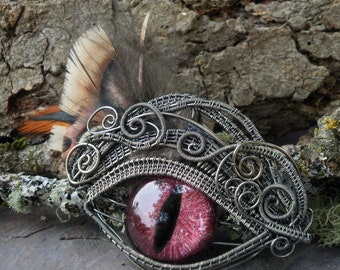 Gothic Steampunk Dragon Eye Pin Pendant with Feathers