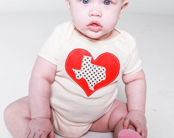 I Love Texas Baby Toddler Bodysuit Organic Cream with Pink Flambe or Cherry Red Heart size 3-6m, 6-12m, 12-18m