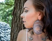 Vintage Lace Hoop Earrings in Gray, Huge