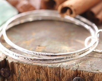 Thicker Version Open Heart Bangle set Hand stamped personalized , forged and stamped bracelets with heart