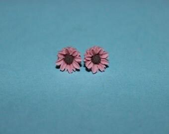 Tiny Pink Daisy Earrings