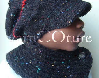 The Brimmed Slouch Knit Hat & Neckwarmer Set For Kids - You Choose The Color / Satin Lining Option