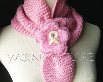 SIMPLICITY - In Pink - Easy To Wear Ascot Scarf - Cowl - Neckwarmer w/Breast Cancer Awareness Brooch