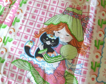 Vintage Holly Hobbie Pinch Pleat Curtain Panels - Sears - Little Girl Flowers Cats Ducks in Pink and Green