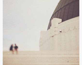 Griffith Observatory photograph, picture of Los Angeles landmark, white decor, gray wall print, LA home decor, romantic, love, travel art