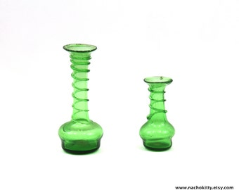 1940s Snake Charmer Vases Green Glass