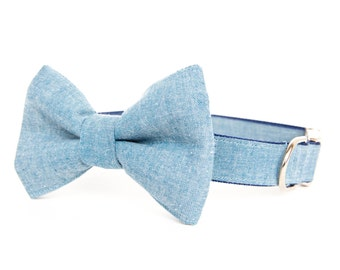 Bowtie Dog Collar - Light Chambray