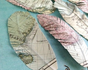 Paper Feathers made from Map Paper
