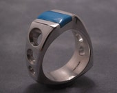 Turquoise curvy ring - Heavy mans ring - sterling silver