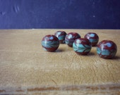 6 blue-green brown large big hole focal bead - vintage glass lampwork bead - old new stock jewelry supplies