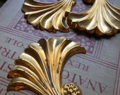 art deco floral stamping - vintage old new stock in raw brass