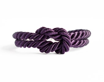 Shiny deep purple forever knot nautical rope bracelet with silver anchor charm