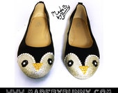 Adorable | Cute | Kawaii Penguin Design for Flats made with Glitter & Rhinestones / Gunter from Adventure Time