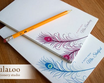 Peacock Feather Personalized Notepad