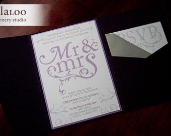 "Swirly Mr and Mrs Wedding Invitation Sample - ""Newport"""