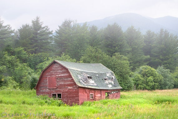 Old Barn and Mountains, Barn Photograph, Rustic Landscape Photography, Adirondacks, New York State, Signed Print, Free Shipping