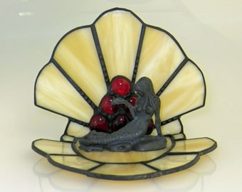 Mermaid Figurine and Stained Glass Shell with Red Nuggets (MER001)