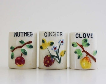 Vintage Spice Shakers with Fruit Motif